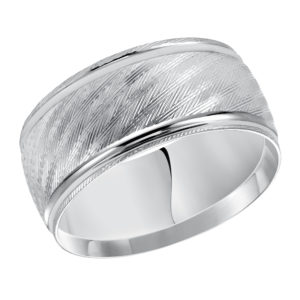 Men's 10mm Comfort Fit Cross Cut Finish Band