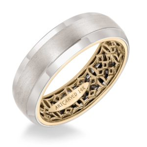 ArtCarved: Men's Wedding Band with Geometric Pattern, Hammer Finish and Dome Profile with Round Edges