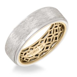 ArtCarved: Men's Wedding Band with Geometric Pattern, Wire Finish and Flat Profile with Bevel Edges