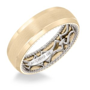 ArtCarved: Men's Wedding Band with Link Pattern, Rope Edging Inside, Dome Profile with Round Edges