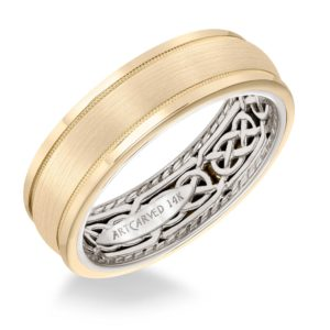ArtCarved: Men's Wedding Band with Celtic Pattern, Rope Edging Inside, Satin Finish and Triple Dome Profile