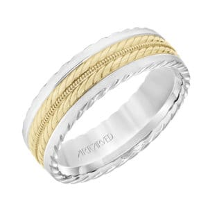 Men's Wedding Band with Rope and Milgrain Center Design