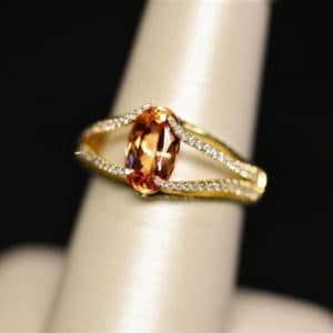 18K Yellow Gold Imperial Topaz and diamond ring