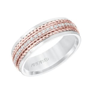 Wedding Band with Polished Finish and Double Rope with Diamond Center Inlay