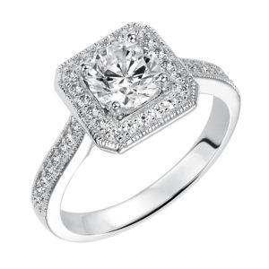 Vintage Inspired Diamond Halo Engagement Ring