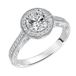 Lady's Vintage Inspired Diamond Halo Engagement Ring and Matching Band