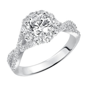 Lady's Engagement Ring with Diamond Halo and Elegant Twisted Diamond Band