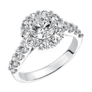 Lady's Engagement Ring with Diamond Halo and Matching Band