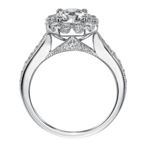 Engagement Ring Features Petite Diamond Crown Accentuating Center Stone and Diamond Shared Prong Setting