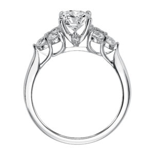 Engagement Ring with Round Diamond Center Stone with 3-stone Diamond Clusters