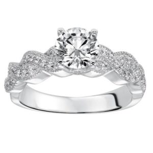 Diamond Engagement Ring with Ribbon Twist Band and Milgrain