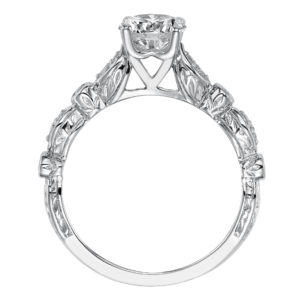Engagement Ring with Prong Set Diamond and Engraved Band