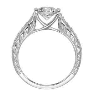 Engagement Ring with Contemporary Half Bezel Setting with Engraved Band