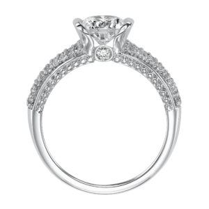 Diamond Ring with Pave Band and Surprise Stone Accent