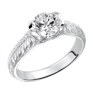 Half-bezel Set Engagement Ring with Engraving and Surprise Stone Accent along with Matching Band