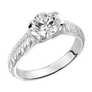 Half-Bezel Set Engraved Engagement Ring
