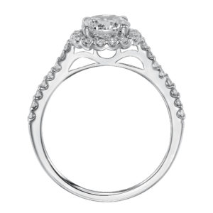 Engagement Ring with Diamond Prong Set Halo and Matching Band