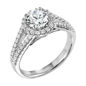 Halo Engagement Ring with Split Shank Diamond Prong Set Band and Matching Band