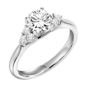 Engagement Ring with Round Center Stone Accented by 3-Stone Diamond Clusters