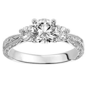 Engraved 3-Stone Diamond Engagement Ring