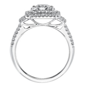 Engagement Ring with 2-Row Diamond Halo