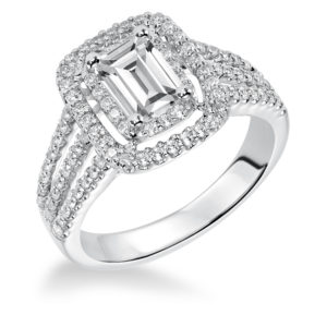 Engagement Ring with 2-Row Diamond Prong Set Halo and 3-Row Band