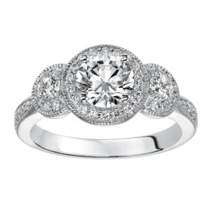 3-Stone Round Diamond Engagement Ring with Diamond Halo and Milgrain Detail