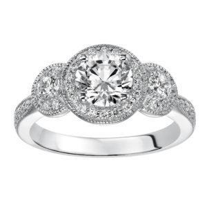 3-Stone Round Halo Diamond Engagement Ring with Milgrain Detail