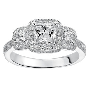 3-Stone Princess Cut Diamond Engagement Ring with Halo and Milgrain