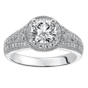 Engagement Ring with Prong Set Diamond Halo and Milgrain Detail