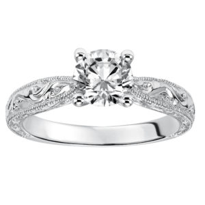 Solitaire Engraved Engagement Ring