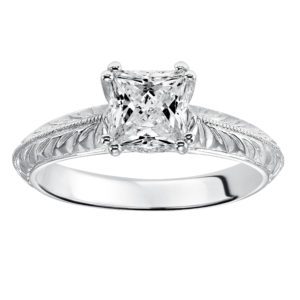 Engraved Engagement Ring with Milgrain
