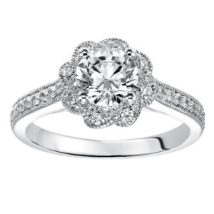 Engagement Ring with Petal Inspired Halo