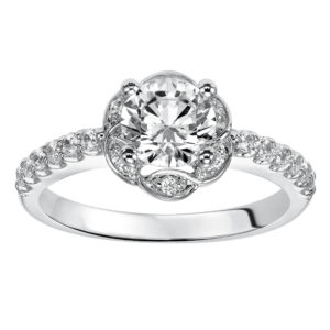 Engagement Ring with Flowering Design