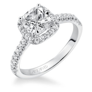 """Layla"" Prong set Halo Diamond Engagement Ring with Diamond Accented Shank"