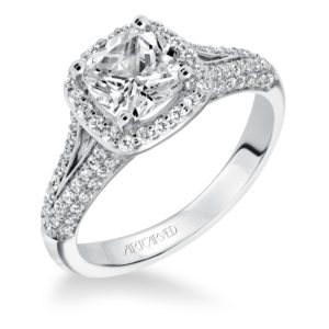 """Ariel"" Contemporary Cushion Halo Diamond Engagement Ring"