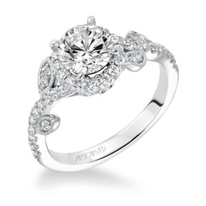 """Thalia"" Floral Motiff Halo Diamond Engagement Ring"