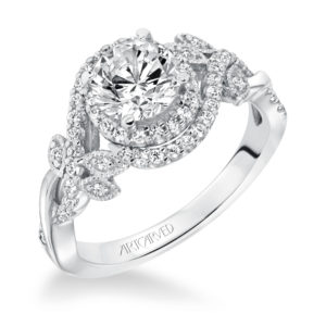 Prong Set Halo Diamond Engagement Ring and Matchin...