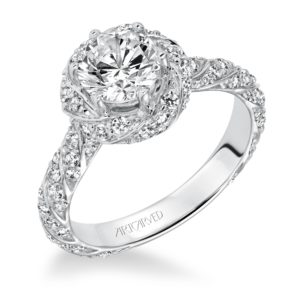 """Bailey"" Twisted Bead Set Diamond Halo Engagement Ring"