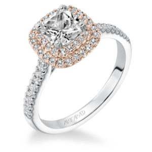 """Avril"" Double Halo Diamond Engagement Ring with Diamond Shank"