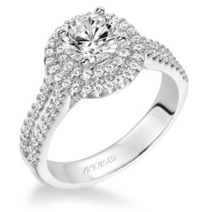 """Kristen"" Double Halo with Split Shank Diamond Engagement Ring"