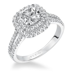 """Dorothy"" Double Halo with Split Shank Diamond Engagement Ring"