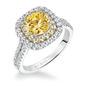 """Marigold"" Double Halo, Split Shank Diamond Engagement Ring with Yellow Accents"