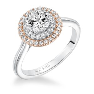 """""""Morgan"""" Two-Tone Double Halo Engagement Ring"""