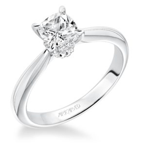 """Paige"" Solitaire Engagement Ring with Accented Diamond Crown"