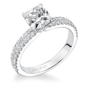 """Pippa"" Double Row Bead Set Diamond Engagement Ring"