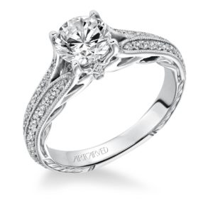 """Zelma"" Hand Engraved Split Shank Diamond Engagement Ring"
