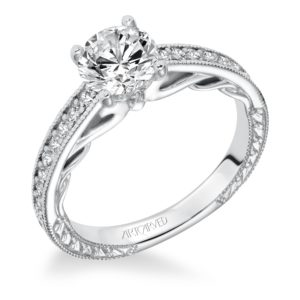 """Ferm"" Hand Engraved Milgrain Diamond Engagement Ring with Scroll Accents"