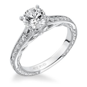 """Viola"" Engraved Channel Set Diamond Engagement Ring"