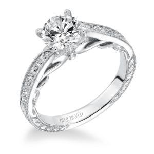"""""""Lavinia"""" Hand Engraved Milgrain Bypass Diamond Engagement Ring"""